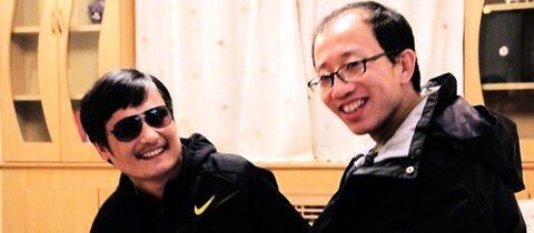 Hu Jia (r.) mit Chen Guangcheng
