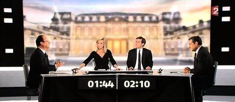Hollande (l.) und Sarkozy (r.)^