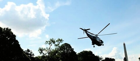 Helikopter von Obama im Garten des Weien Hauses